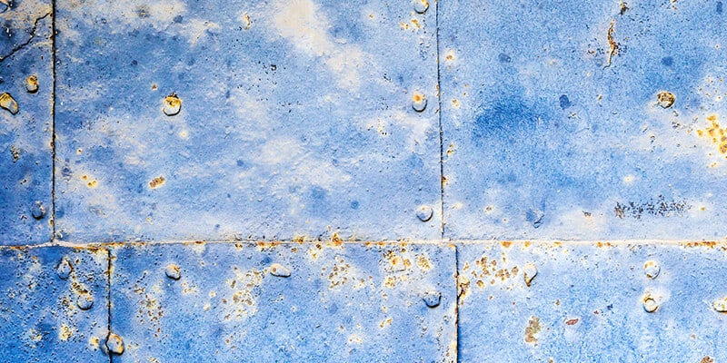 blue corroded panels